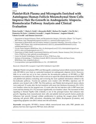 Plasma Ricco di piastrine e Microinnesti di Cellule Follicolari autologhe nella ricrescita dei capelli nei pazienti con Alopecia Androgenetica: Valutazioni Cliniche e Biomolecolari