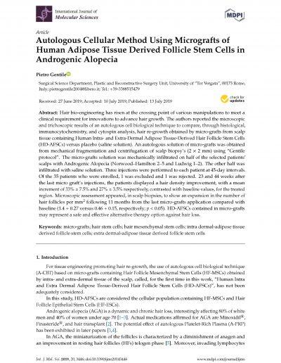 Metodica di rigenerazione cellulare autologa nella ricrescita dei capelli in pazienti con Alopecia Androgentica usandocellule staminali follicolari di derivazione adiposa - Tecnica GENTILE